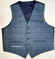 Waistcoat Use Blue Window Pane Flinstone Tweed, maat 46