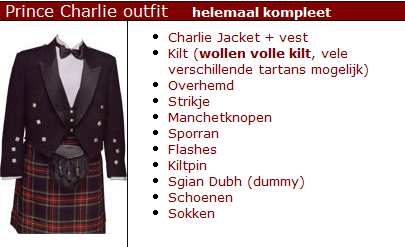 HUUR Prince Charlie Outfit helemaal Kompleet