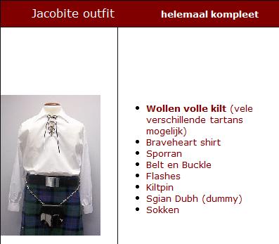 HUURJacobite Outfit helemaal Kompleet